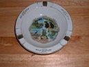 1950's vintage Mohawk Trail, Mass souvenir porcelain ashtray w gold trim