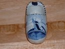 Vintage Deflts Dutch blue glaze handpainted porcelain miniature Dutch shoe with a windmill motiv