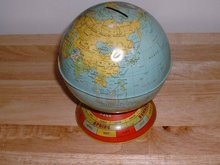 1950's Giant Globe metal still bank with
