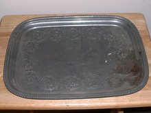 1890's Antique Victorian  large Pewter Platter