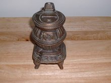 Vintage Brass or Bronze Pot Belly Wood Stove still bank