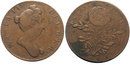 1694 Queen Mary Copper Farthing Pattern with Tudor Rose Reverse