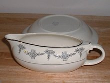 Vintage set of Taylor Smith USA 77 pc porcelain set pattern 1-42 in eggshell with gold trim and floral motif