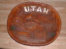 Vintage Utah souvenir plate w hallmark Taco & arrow
