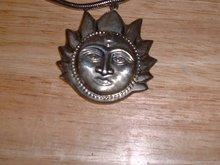 Vintage Aztec Mexican Sun sterling silver pendant
