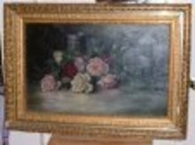 1893 Mary E. Phillips Oil on Canvas Still Life Roses