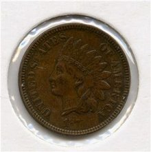 1873 US Indian Head Cent Penny Closed 3 Silky Choice AU