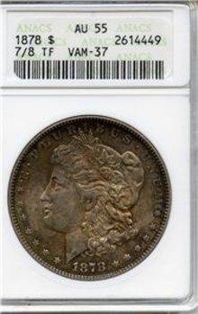 1878 7/8Tailfeather US Morgan Silver $ VAM37 ANACS AU55