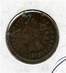 1875 US Indian Head Penny Cent EF details Redbook $110