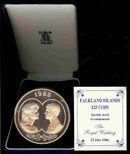 1986 Falkland Islands Royal Wedding 25LB Silver PF COA