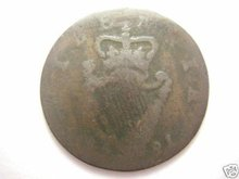 1781 US Colonial Irish Hibernia Copper Halfpenny