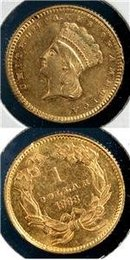 1868 P US Gold Dollar T3 Mintage 10,500 Brilliant Unc