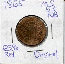 1865 US 2 Cent Piece Coin Original Choice BU 40% Red