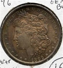 1896-P US Morgan Silver $ Gem BU Rainbow Toning COLOR