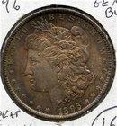 1896-P US Morgan Silver $ Gem BU Rainbow Toning COLOR