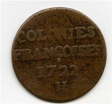 1722/1-H US Colonial New France Copper Sou 9Deniers F