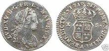 1719A Paris US Colonial 10Sols Silver Coin John Law EF