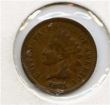 1871 US Indian Head Cent Penny KEY DATE Very Fine ++