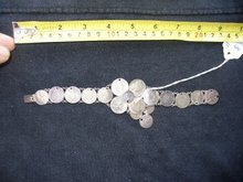 Vintage Heavy 8.5 inch World Silver Coin Bracelet
