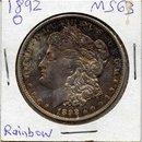 1892-O US Morgan Dollar Coin Choice BU MONSTER Rainbow