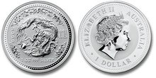 2000 Australia Lunar Year Dragon Series 1 Silver 1oz BU
