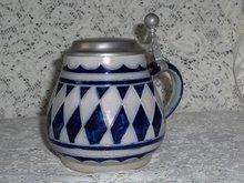 German Salt Glaze Lidded Stein