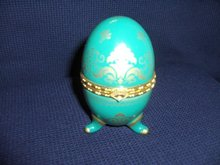 Hinged Ceramic Egg with Clock