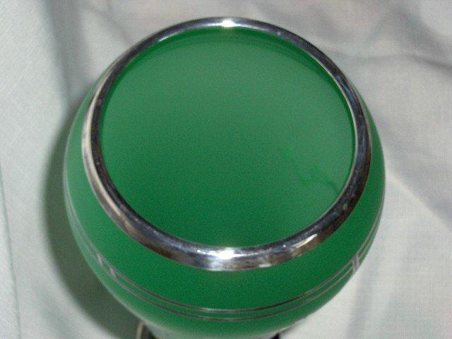 Tiffin Green Satin Cupped Dahlia Vase