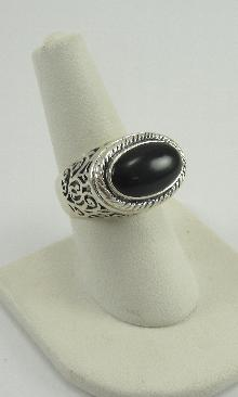 Black Onyx Cabochon Sterling Silver Estate Ring Scroll Work Rope Design Size 7.5