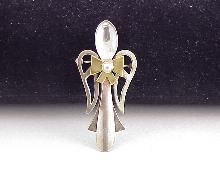 Mexican Sterling Silver Bowed Angel Pin Pendant Loop