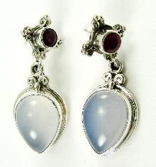 Sterling Earrings Blue Chalcedony Natural Ruby Sajen