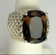 Sterling Ring Smoky Quartz Topaz Pineapple Textured Size 4-1/4