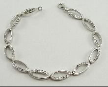 Sterling Silver Bracelet 12 Link Accent CZ 7.75