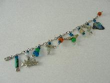 Sterling Silver Charm Bracelet Traditional 9 Charms Chalcedony Turquoise Quartz