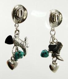 Sterling Silver Earrings Stud Dangle Southwestern 2-1/8
