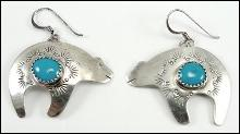 Sterling Silver Earrings Turquoise Bear French Dangle Wire Cabochon Southwestern