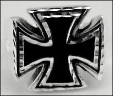 Sterling Silver Mens Maltese Cross Ring St Johns Black Jet Inlay 925 Size 12.25
