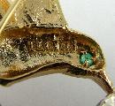 Sterling 14K Pin Brooch Yellow Gold Hummingbird Silver Trumpet Flower Emerald