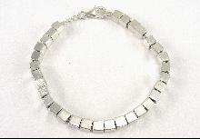 Sterling Silver Bracelet Cable Chain Square Sterling Beads Lobster Clasp 8 In