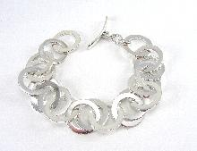 Sterling Silver Bracelet Circle Links Chain Toggle 8-1/2 Inches Long 1 Inch Wide