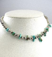 Sterling Silver Necklace Beaded Handcrafted Turquoise Southwestern Choker 16-5/8