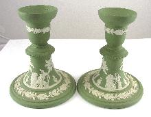 "Wedgwood Jasperware Candle Stick Set Green Leaf Design And Scene 4-3/4"" Tall"
