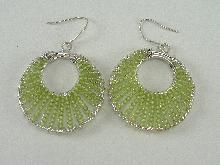 Sterling Silver Earrings Wires Hoop Olive Quartz Beads 2-3/8