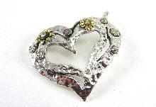 Sterling Silver Necklace Pendant Heart Shaped CZ Flower Gold Vermeil Large Bail