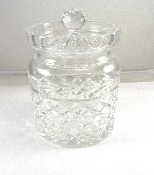 Waterford Crystal Biscuit Barrel Jar Lidded Flat Inset Lid 6 Inches Tall No Chip