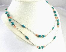 Sterling Silver Beaded Necklace 49.5 Inches Turquoise Red Spiny Oyster Shell