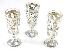 Cordial Glasses Handmade Mexico Set Of 3 Glass Liner Floral Engraved Detail