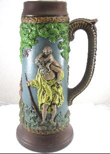German Beer Stein Forest Scene 14-3/8 Inches Tall 17-6/8 Inch Circumference