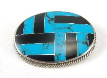 Sterling Silver Pin Turquoise Onyx Inlay Mexico 1-7/8 Inches Southwestern