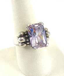 Sterling Silver Ring Amethyst CZ Design Detail Prong Set Size 9 Large Stone